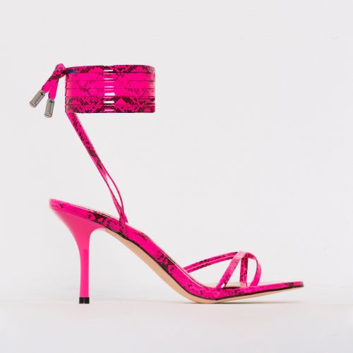 Amara Pink Patent Snake Print Lace Up Mid Stiletto Heels