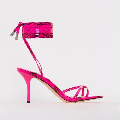 Amara Pink Patent Snake Print Lace Up Mid Stiletto Heels