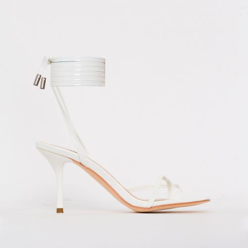 Amara White Patent Lace Up Mid Stiletto Heels