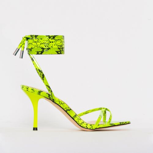 Amara Yellow Patent Snake Print Lace Up Mid Stiletto Heels