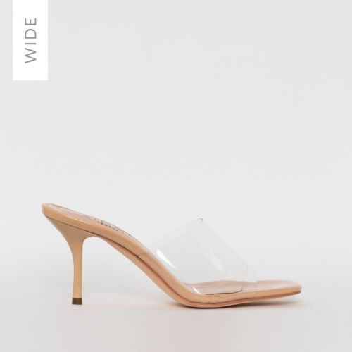 Elise Wide Fit Nude Patent Clear Mid Heel Mules