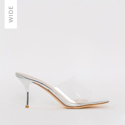 Elise Wide Fit Silver Clear Mid Heel Mules