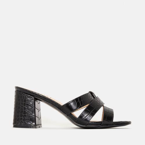 Kerie Black Croc Mid Block Heel Mules