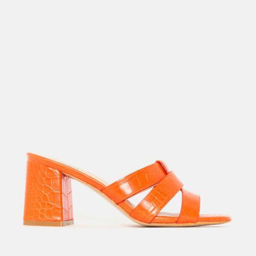 Kerie Orange Croc Mid Block Heel Mules