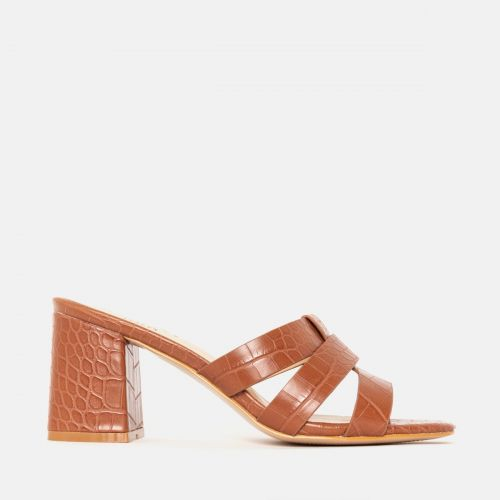 Kerie Tan Croc Mid Block Heel Mules