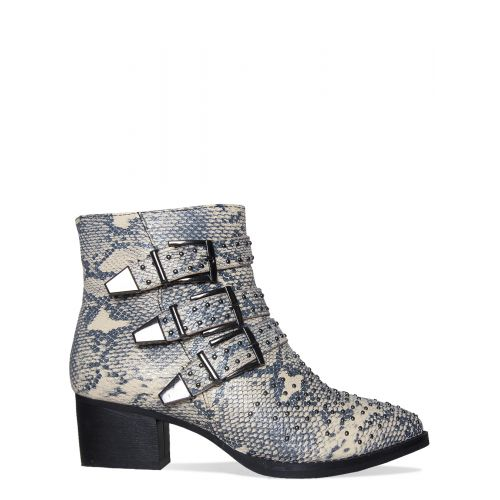 Klaudia Beige Snake Studded Buckle Ankle Boots