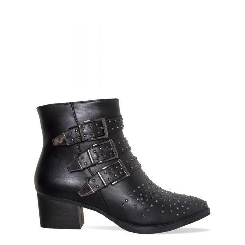 Klaudia Black Studded Buckle Ankle Boots