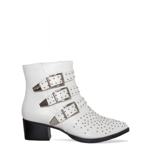 Klaudia White Studded Buckle Ankle Boots