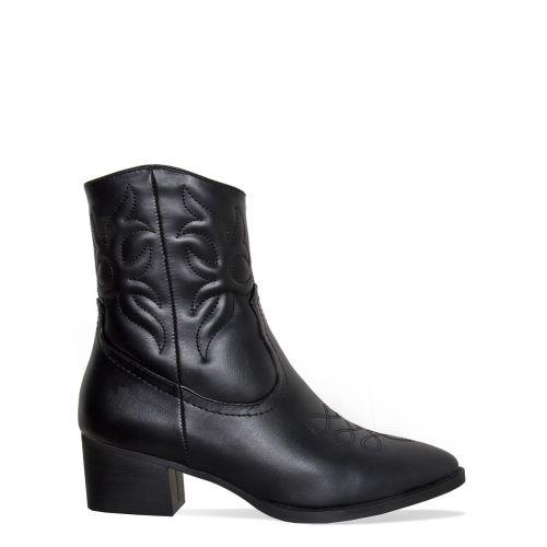 Kristen Black Western Ankle Boots