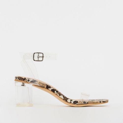 Koko Beige Snake Clear Mid Block Heels