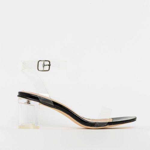 Koko Black Patent Clear Mid Block Heels