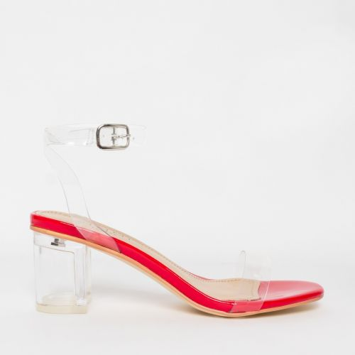 Koko Red Clear Mid Block Heels