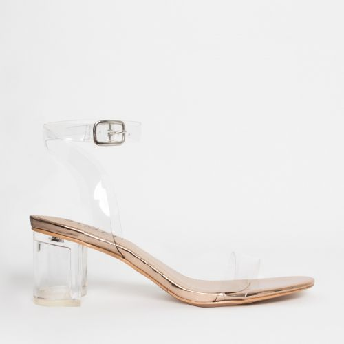 Koko Rose Gold Clear Mid Block Heels