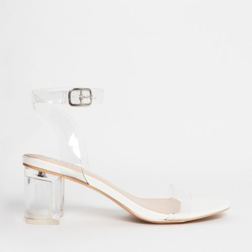 Koko White Clear Mid Block Heels