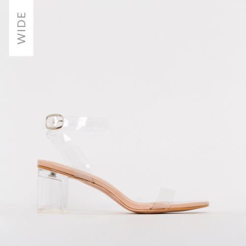 Koko Wide Fit Nude Patent Clear Mid Block Heels