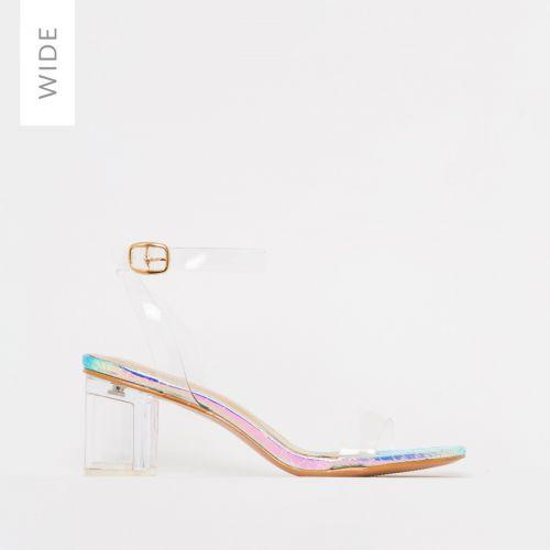 Koko Wide Fit Rainbow Snake Print Clear Mid Block Heels