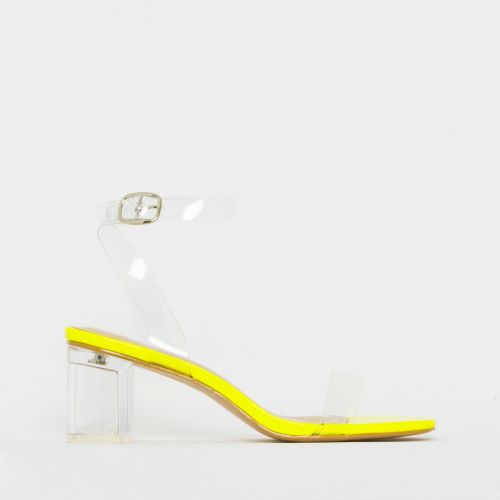 Koko Yellow Patent Clear Mid Block Heels