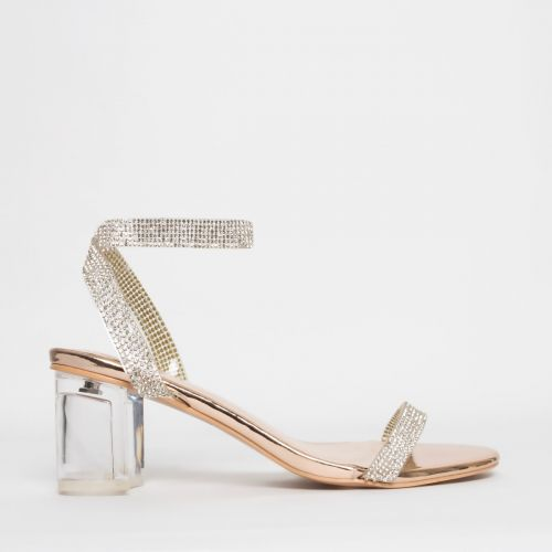 Kelly Rose Gold Diamante Clear Mid Block Heels