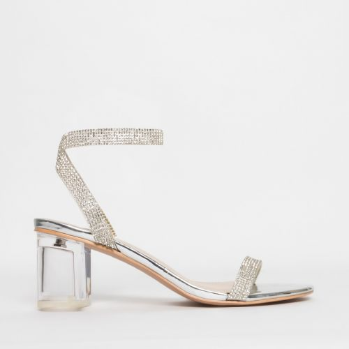 Kelly Silver Diamante Clear Mid Block Heels
