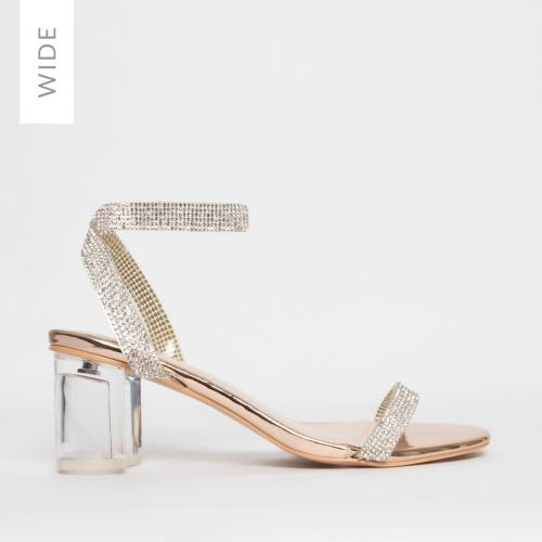 Kelly Wide Fit Rose Gold Diamante Clear Mid Block Heels