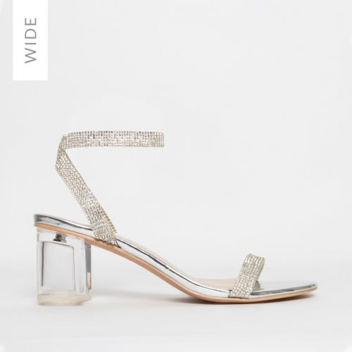 Kelly Wide Fit Silver Diamante Clear Mid Block Heels