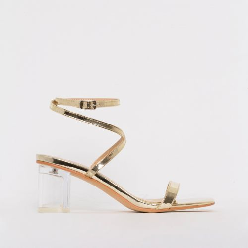 Elma Gold Clear Low Block Heels