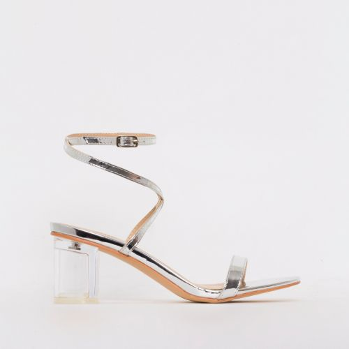 Elma Silver Clear Low Block Heels