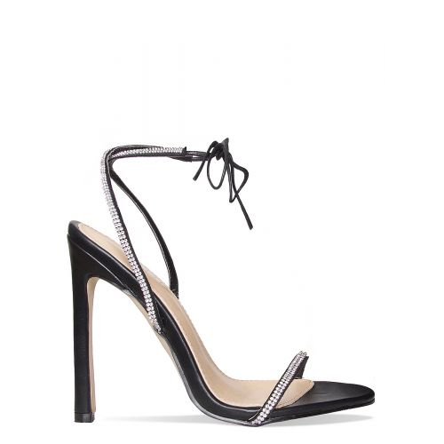 Korra Black Patent Diamante Barely There Lace Up Heels