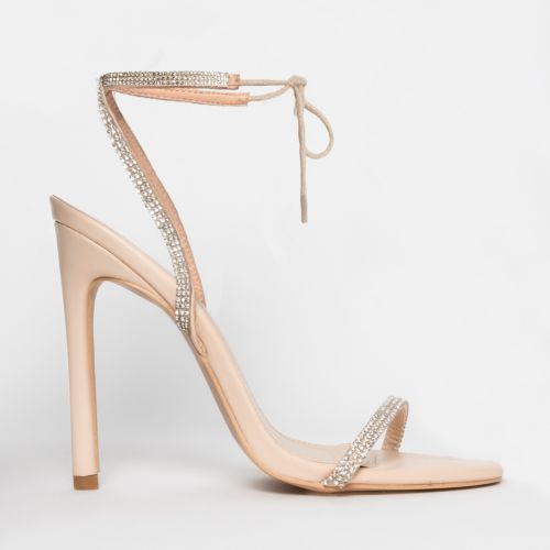 Korra Nude Patent Diamante Barely There Lace Up Heels