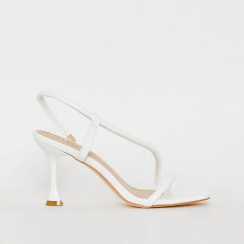 Katrissa White Asymmetric Strappy Mid Flared Heels