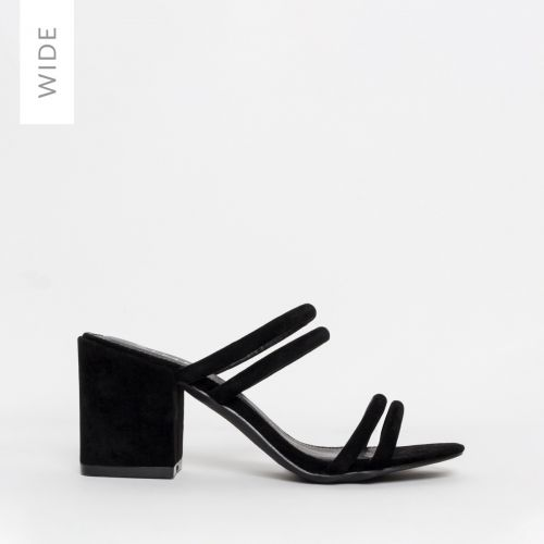 Kezia Wide Fit Black Suede Mid Block Heel Mules