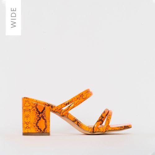 Kezia Wide Fit Orange Patent Snake Print Mid Block Heel Mules