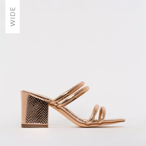 Kezia Wide Fit Rose Gold Snake Print Mid Block Heel Mules