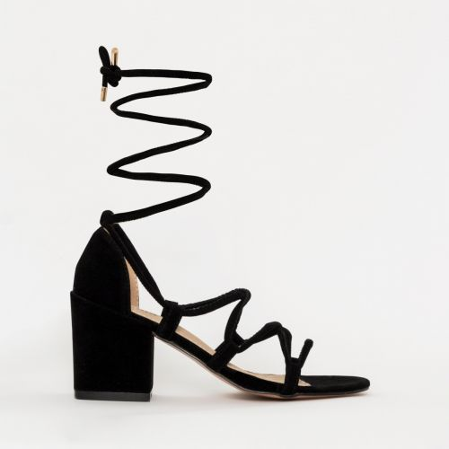 Kyra Black Suede Lace Up Mid Block Heels