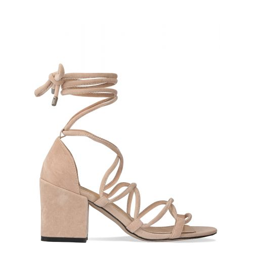 Kyra Nude Suede Lace Up Mid Block Heels