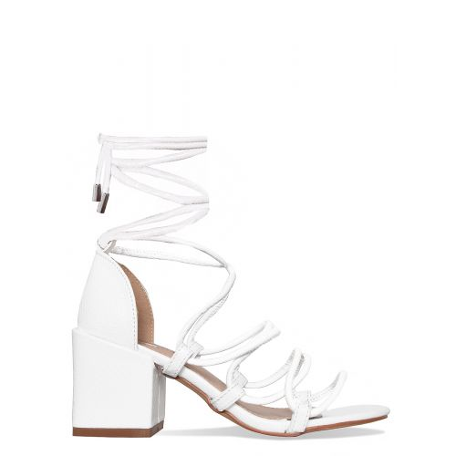 Kyra White Snake Lace Up Mid Block Heels