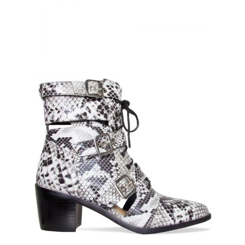Kristie Black and White Snake Cut Out Buckle Ankle Boots