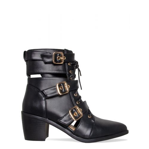 Kristie Black Cut Out Buckle Ankle Boots