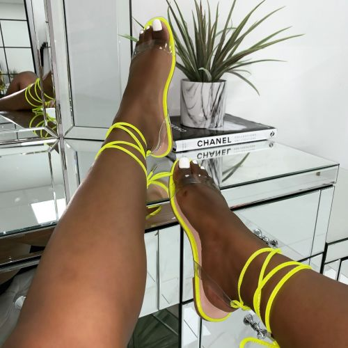 Laurel Clear Yellow Croc Print Lace Up Flat Sandals
