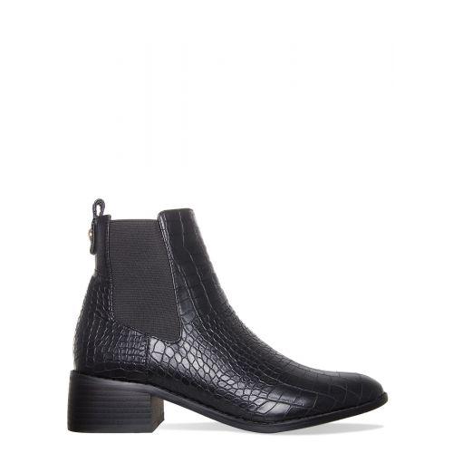 Neve Black Croc Ankle Chelsea Boots
