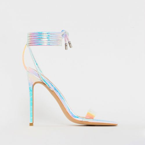 Leila Silver Iridescent Snake Print Rainbow Lace Up Heels