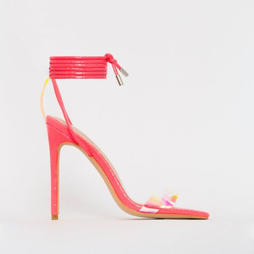 Leila Pink Patent Python Print Rainbow Lace Up Heels