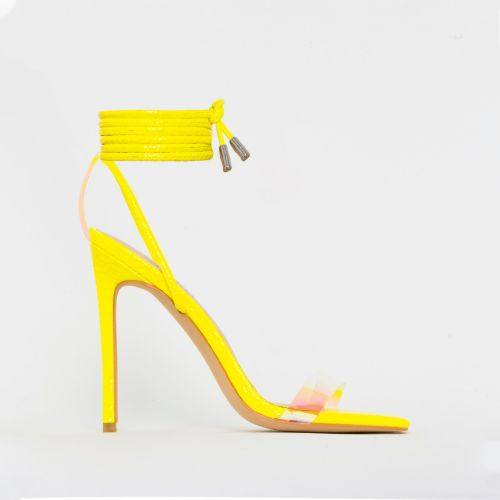 Leila Yellow Patent Python Print Rainbow Lace Up Heels