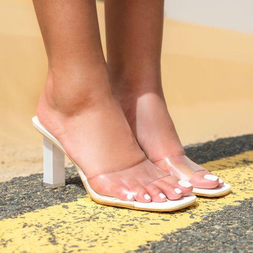 SONIA X FYZA Leo White Patent Clear Block Heel Mules