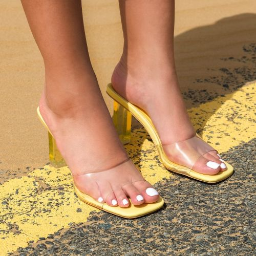SONIA X FYZA Leo Yellow Patent Clear Block Heel Mules