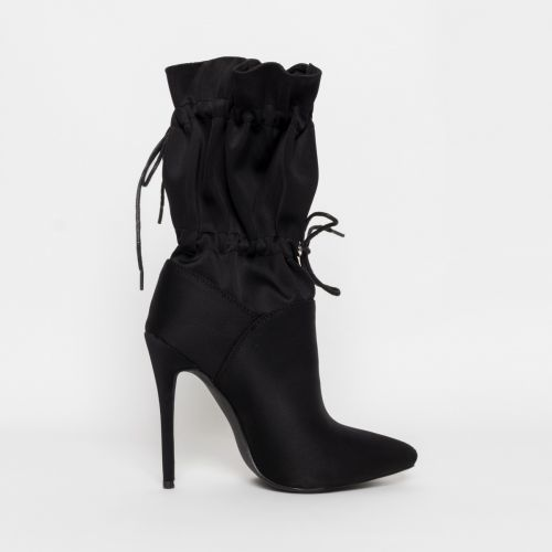 Letisha Black Lycra Stiletto Toggle Ankle Boots