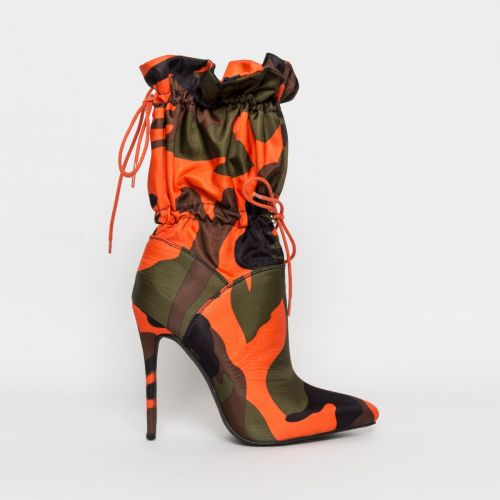 Letisha Camouflage Lycra Stiletto Toggle Ankle Boots