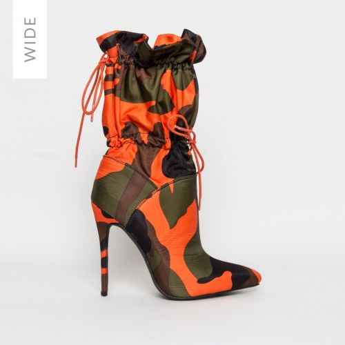 Letisha Wide Fit Camouflage Lycra Stiletto Toggle Ankle Boots