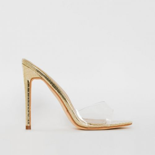 Jules Light Gold Snake Print Stiletto Mules