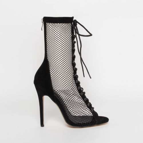 Lira Black Suede Mesh Lace Up Ankle Boots